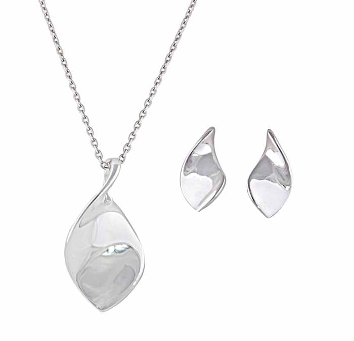 Silver Twisted Leaf Necklace and Stud Jewellery Set