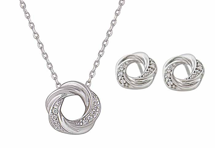 Silver Twisted Circle Necklace and Stud Earrings Set