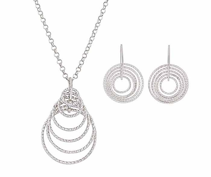 Graduating Circle Necklace and Drop Earrings Jewellery Set