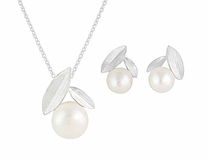 Leaf and Pearl Necklace and Stud Earrings Set