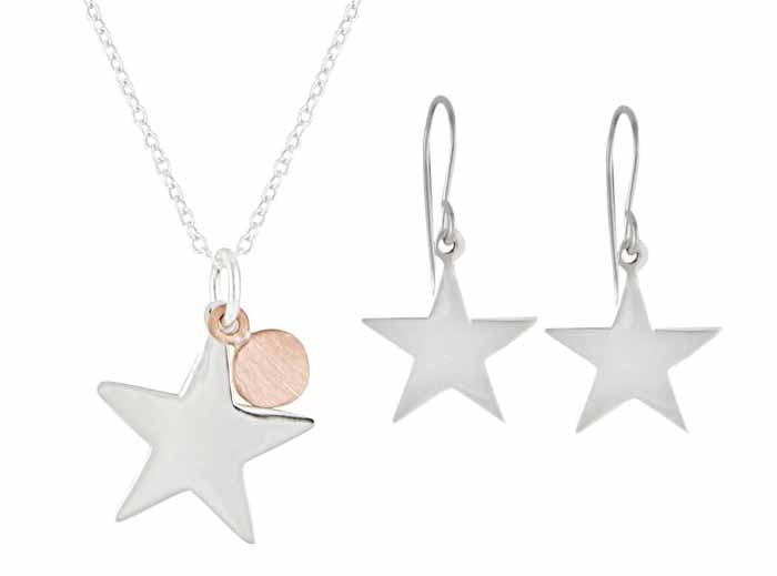 Sterling Silver Star and Rose Gold Plated Disc Necklace and Drop Earrings