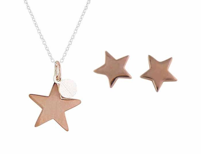 Rose Gold Plated Star and Silver Stud Earrings and Necklace Set