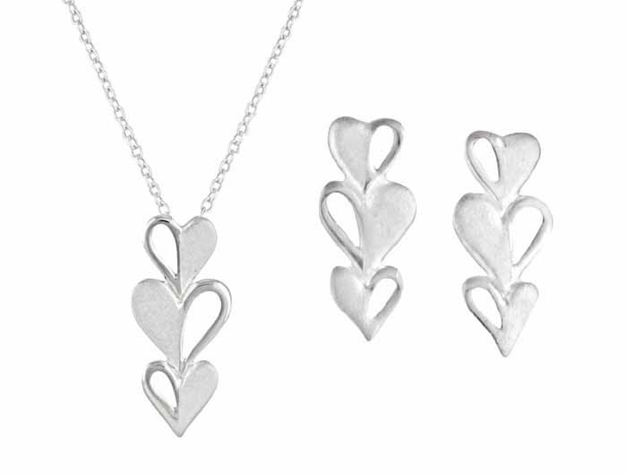 fca05e1cd Triple Heart Drop Earrings and Necklace Jewellery Set | The Opal