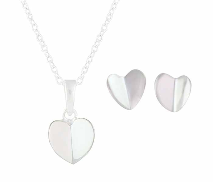 Folding Heart Stud Earrings and Necklace Set