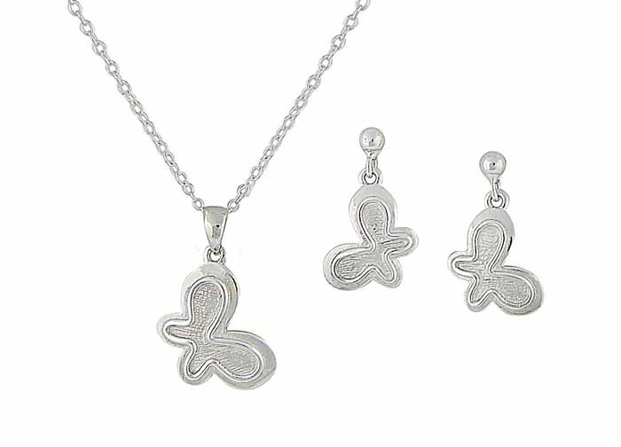 Textured Butterfly Necklace and Earrings Set