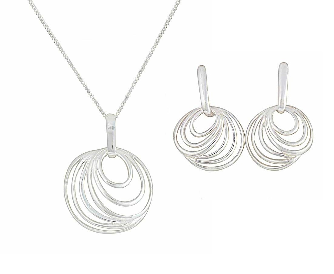 Concentric Design Circle Pendant Necklace and Earrings Set