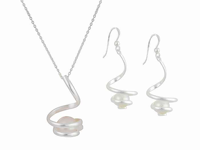 Twisted Silver Bar and Freshwater Pearl Necklace and Earrings Set