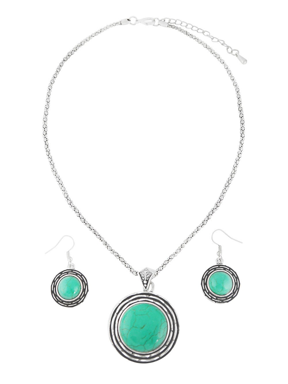 Turquoise Bead Pendant Necklace and Earrings Set
