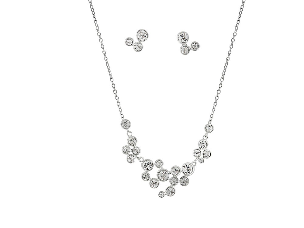Rhodium Plated Dianmate Necklace and Earrings Set