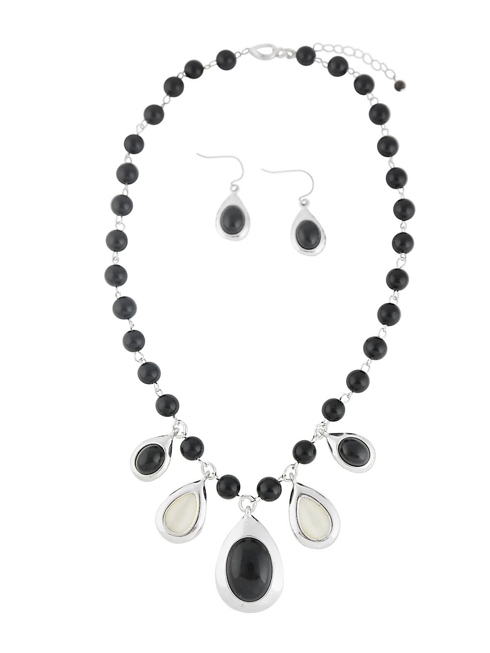 Black Teardrop Pendant Necklace and Earrings Set