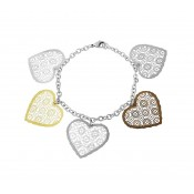 Lace Design Heart Charm Bracelet