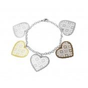 Lace Design Heart Charm Bracelet