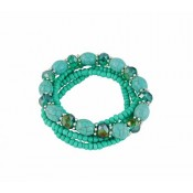 Multi Layer Stretch Bead Turquoise Bracelet