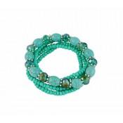 Multi Layer Stretch Bead Turquoise Bracelet