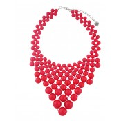 Red Beaded Bib Necklace