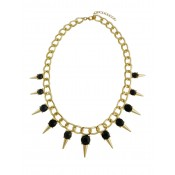 Spike and Black Bead Statement Necklace