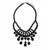 Black Bead Statement Necklace