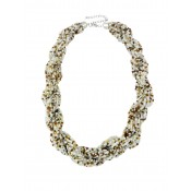 White Seed Bead Plaited Fashion Necklace