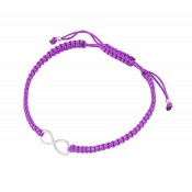 Silver Infinity Charm Adjustable Bracelet - Purple