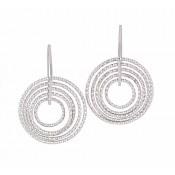 Diamond Cut Circle Silver Earrings
