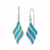 Fluid Diamond Design Blue Opal Drop Earrings