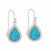 Blue Opal and Cubic Zirconia Teardrop Silver Earrings