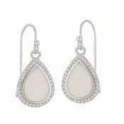 White Opal and Cubic Zirconia Teardrop Silver Earrings