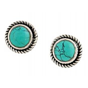 Rope Edged Turquoise Silver Stud Earrings