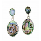 Two Oval Abalone Silver Drop Earrings