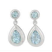 Teardrop Sky Blue Topaz Silver Stud Earrings