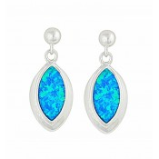 Marquise Blue Opal Silver Stud Earrings