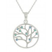 Tree of Life Opal Silver Necklace