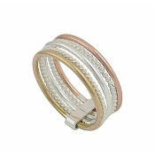 Plain and Rope Style 5 Row Sterling Silver Ring