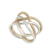 Silver and Rose Gold Plated Interlocking Bar Ring
