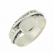 Mother of Pearl and Hammered Band Silver Ring