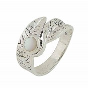Textured Leaf and Mother of Pearl Silver Ring