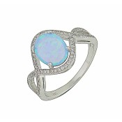 Blue Opal Cluster Silver Ring