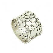 Openwork Pebble Silver Ring