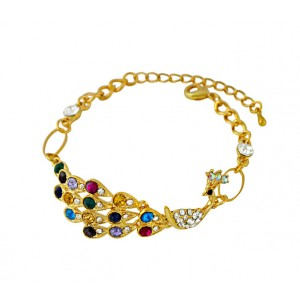 Golden Peacock and Multi Colour CZ Bracelet