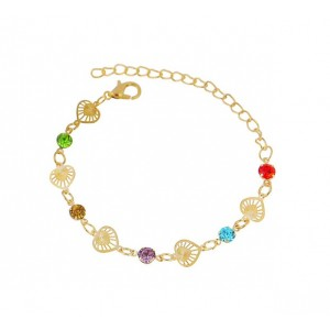 Multi Colour Crystal and Heart Bracelet