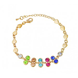 Heart Charm and Multi Colour Crystal Bracelet