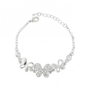 Silver Tone Crystal Butterfly Bracelet