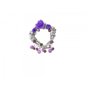 Purple Rose and Crystal Bead Stretch Bracelet