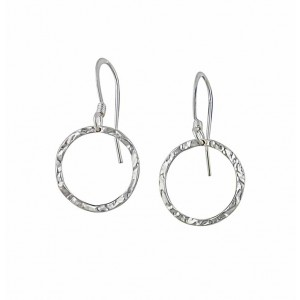 Hammered Open Circle Small Silver Drop Earrings