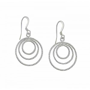 Triple Loop Silver Drop Earrings