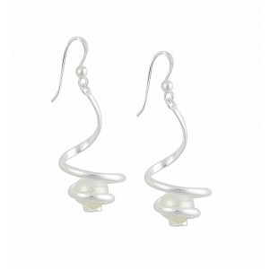Swirl and Single Freshwater Pearl Silver Drop Earrings