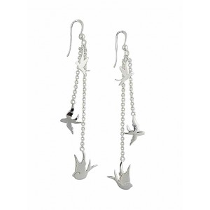 Bird Charm Silver Long Dangle Earrings