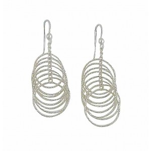 Stack of Open Circle Silver Drop Earrings