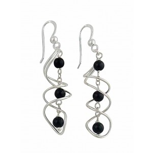 Intertwined Swirl Black Onyx Drop Earrings