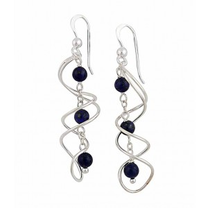 Intertwined Swirl Lapis Lazuli Drop Earrings